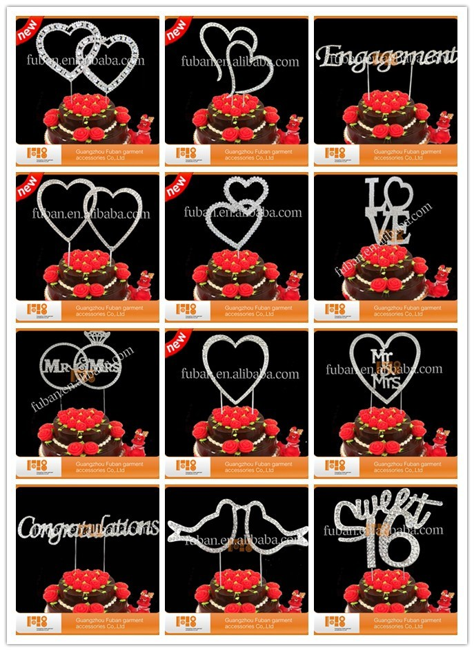 2016 Chinese double heart rhinestone cake topper for wedding reception ideas/wedding supplies wholesale