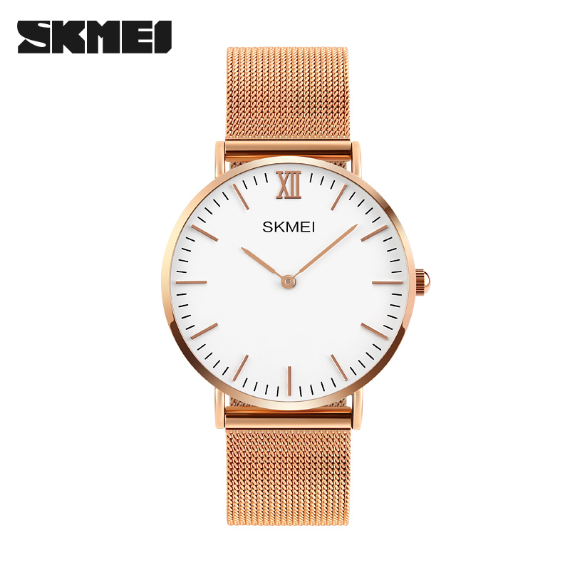 SKMEI luxury watch women brand your own watches minimal mesh stainless steel lady simple stylish