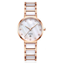New fashion rose gold plated white ceramic watch elegant colorful mop dial montre best-selling pearl ceramic female watches