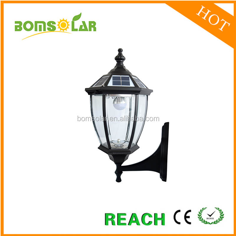 China good price 2.4w mono solar led outdoor wall light with CE RoHS certifications