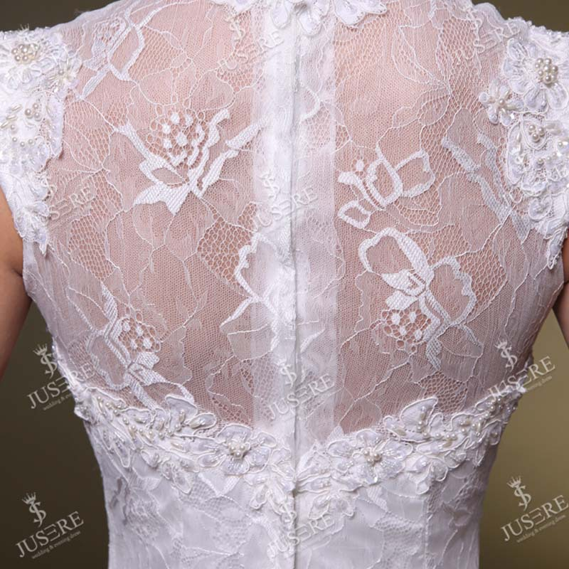 Vintage High Neck Cap Sleeves Sweetheart Fit And Flare Lace Wedding Dresses