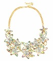 2018 trendy large flower statement necklace new crystal flower necklace large crytal flower statement necklace