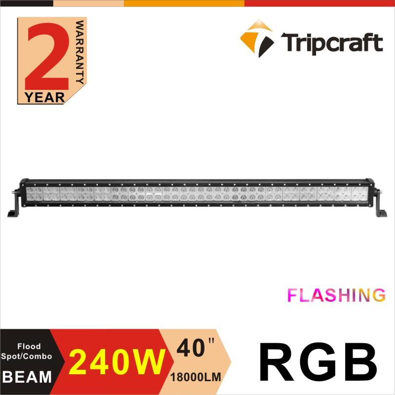 4x4 offroad 240w straight RGB flashing led light bar 40 inch for 4WD roof light