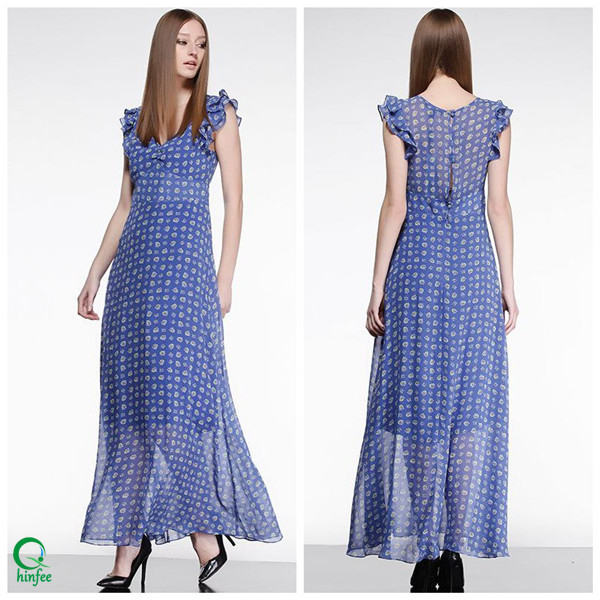 D352 Cheap Clothing V Neck Maxi Long Summer Chiffon Women's Dreses