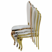 High Back Stackable Rose Gold Stainless steel White Wedding Chairs Product