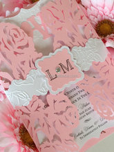 heavy metallic pearlescent cardstock paper embossed Rose Laser Cut wedding invitation card