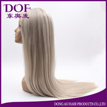 Silk Straight Silver Grey Synthetic Lace Front Wig Glueless Heat Resistant Fiber
