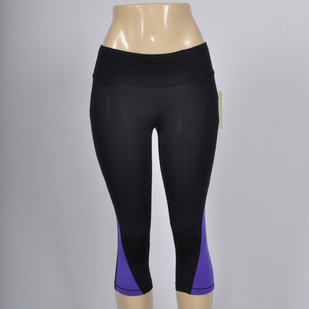Hot Sexy Women's fitness 3/4 yoga pants polyester running slim contrast capri