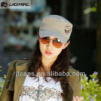 100% cotton Patch embroidered european simple style wash flat-top cap/military style outdoor trucker baseball hat cap