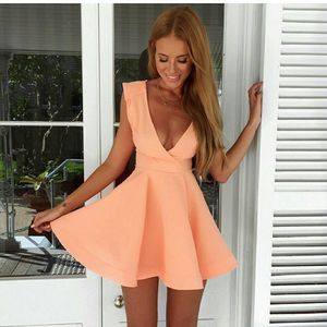 F20023A New style 2016 deep v neck mini dress for ladies