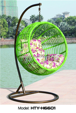 2017New style hot sale indoor Outdoor rattan hanging swing chair round wicker swing chair