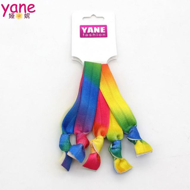 New design colorful girls hair bands rainbow elastic hair ties