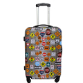 colorful printed bags women ladies bright color hard case 4 wheel luggage