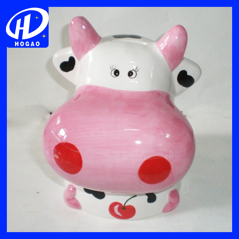 The cow shape ceramic custom donation money bank safe saving boxes design