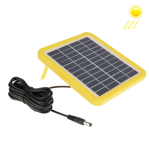 12V 2W Portable Solar Panel with Holder Frame, 5.5 x 2.1mm Port(Yellow)