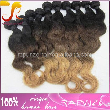 Jiaozhou Rapunzel Hair nice body wave colored three tone hair weave