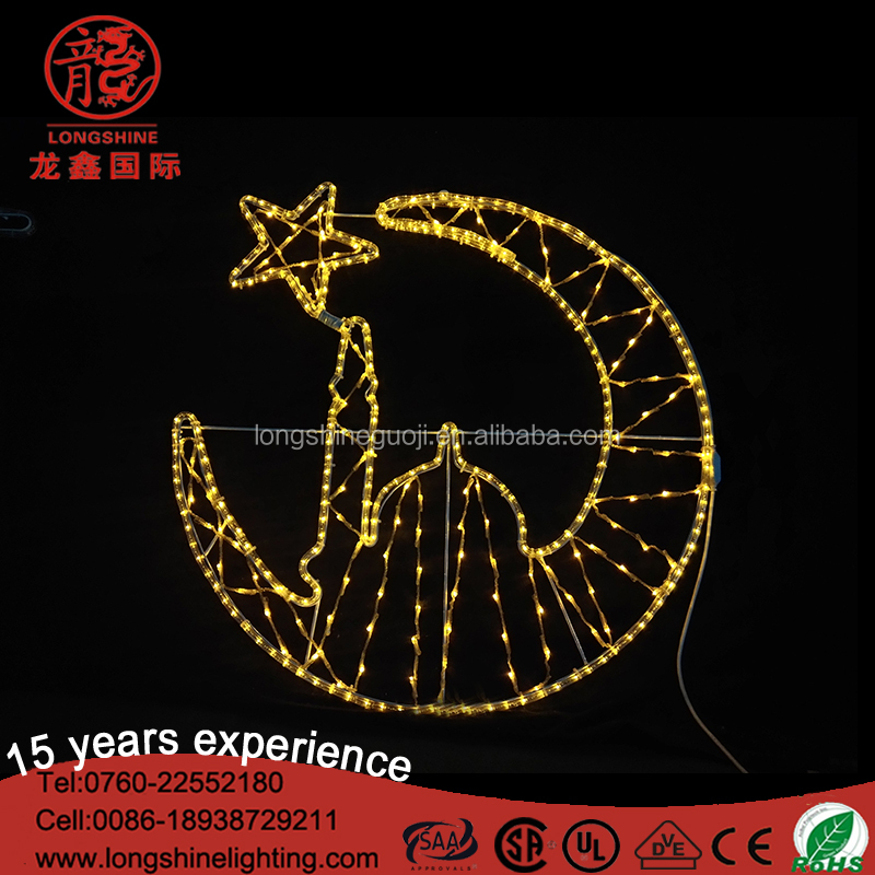 Happy Eid al-adha and Corban motif decoration lights for outdoor