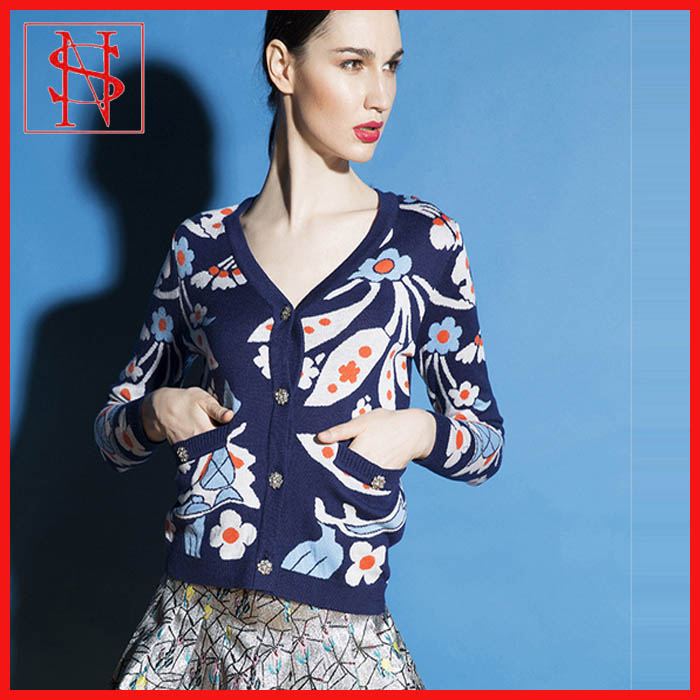 wholesale womens clothing printing design women's knitted cardigan