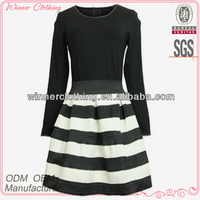 New puff buttom long sleeeve striped black party dresses for fat girls