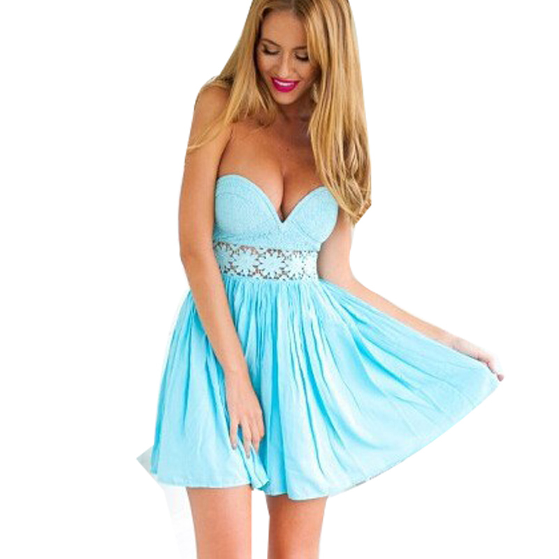 Strapless Ball Summer Dress Vestido Patchwork Ball Lace Dresses Hollow Waist Sexy Bodycon Party Dress Plus Size Women Clothing