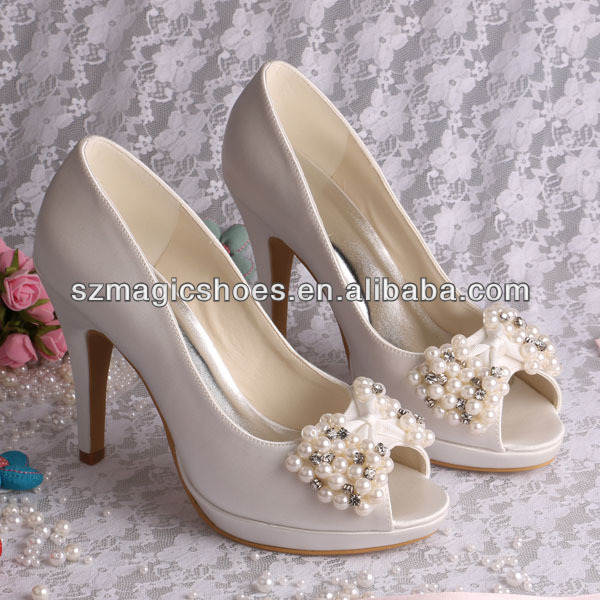 (12 Colors) 10CM Quality Footwear Wedding Shoes with Beaded Bows