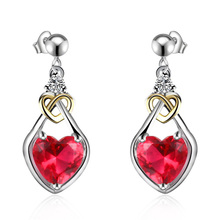 2017 Fashion Red Heart Glass Stone Copper Alloy Jewelry Earrings for Women