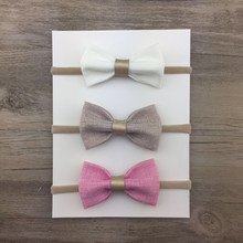 7 years professional produce hair bows for hair accessories solid color fabric bow elastic girl headband