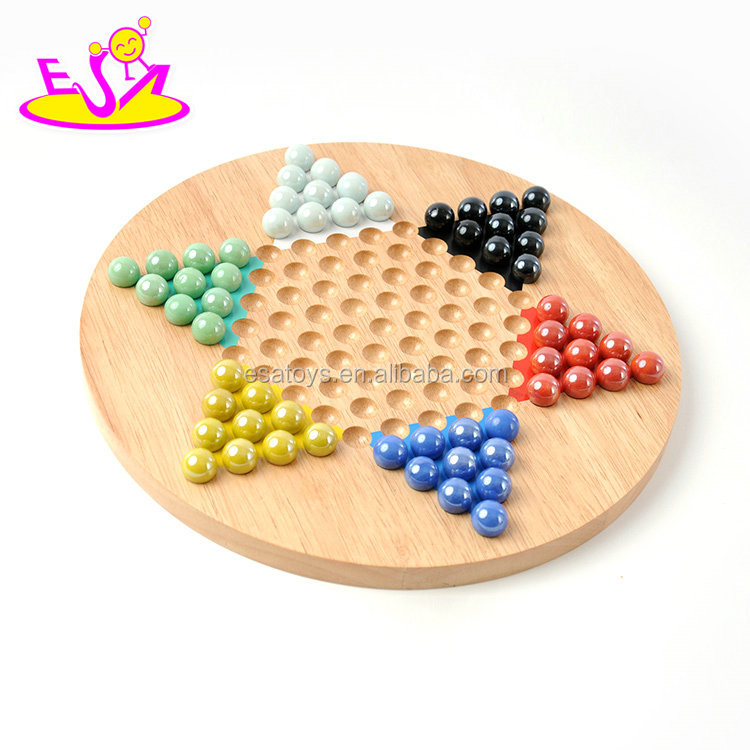 New hottest educational kids wooden Chinese checkers with 60 pieces W11A074