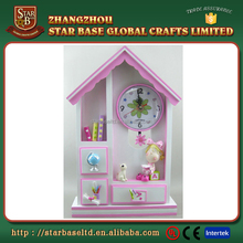 Wholesale exquisite house shape pink resin table decorative small clocks