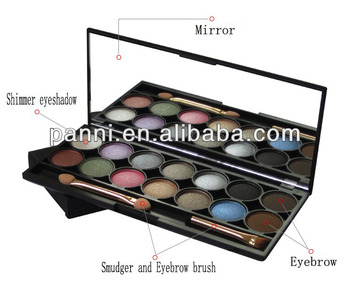 New arrival 12 color pigment makeup eyeshadow + 2 color eyebrow + smudger + eyebrow brush cosmetic eyeshadow palette