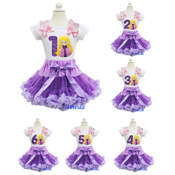 Purple Lavender Pettiskirt Embroidered Number 1 2 3 4 5 6 Rapunzel Tangled Princess Birthday Party Dress