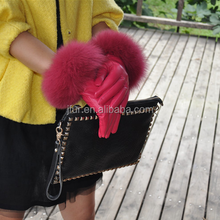 High-end Genuine Fox Fur Cuff Evening Party Leather Dress Gloves Factory Sale