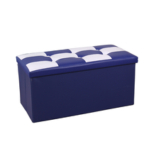 Yiwu wholesale living room PVC leather storage box with lid and foldable storage ottoman organizer