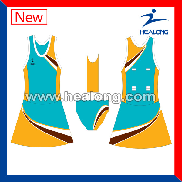 Sublimation Breathable Cheap Hight Qulity Netball Wear Uniforms Dresses Jersey