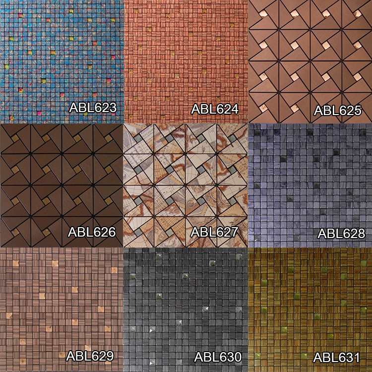 Retro metal glass mosaic tile modern kitchen home decoration bathroom design swimming pool mosaics tile china supplier ABL07