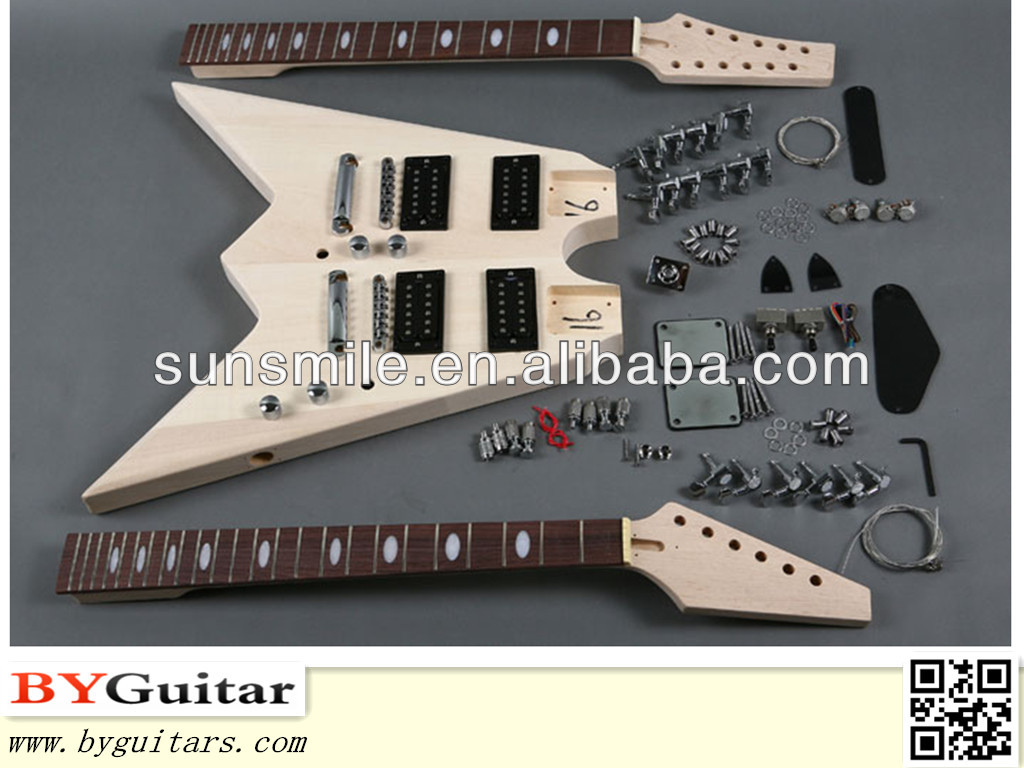 Double-neck Electric Guitar Kits with V shape GK SBD 20