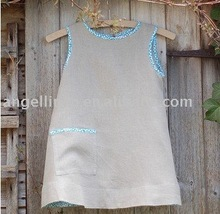 cute linen dress with blue shift bond and embroidery