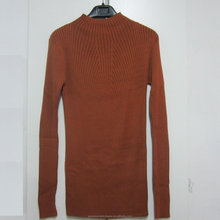 low moq pullover 60% rayon 40% cotton stand up collar women jumper rust colour