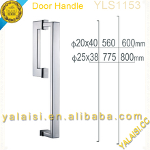 Glass shower enclosure door used 304 stainless steel chrome polished square handle with towel bar