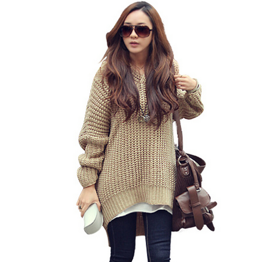 2015 Autumn Style Hooded Sweaters Women's New Fashion Solid Knitted Pullovers Casual Sexy Harajuku V-neck Knitwear M8176