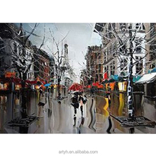 Latest Paris Stree Romantic Landscape Picture Art Printed On Canvas