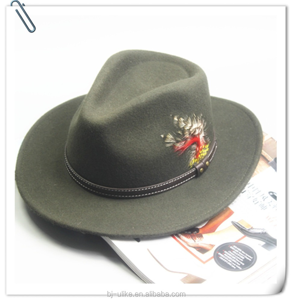 wool hats with feather decoration wholesale felt hat fedora