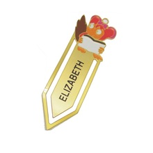 customized novelty etched engraved brass bookmark