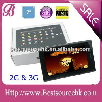 "Newest 7"" tablet pc with phone sim card slot 1.5GHz DDR3 512M 4Gb android 4.0 gsm"