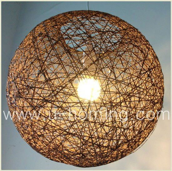 NEW LARGE BROWN LIGHTWEIGHT WICKER STYLE LIGHT SHADE Crystal Ball Pendant Chandelier Light