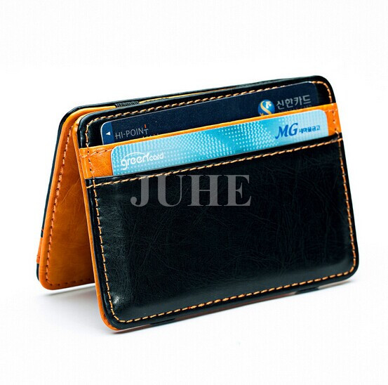 2017 Custom cheap Luxury PU leather wonder magic wallet with elastic straps