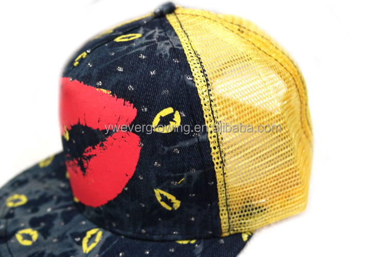 fashion design full printed mesh denim snapback caps with big mouth