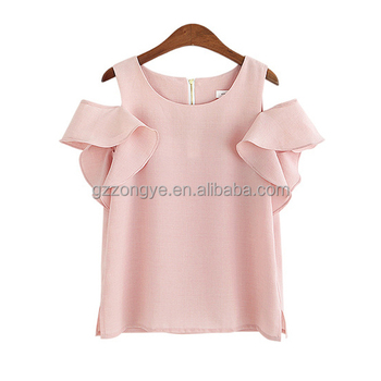 Custom Logo Design Chiffon Short Sleeve Pink Blank Women Female ladies Shirt