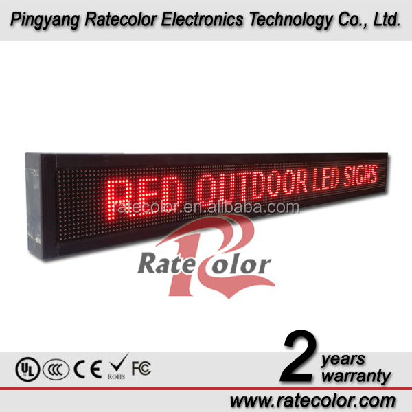 Single red color 10mm Pixels running message text led display board/running message text board16*192cm
