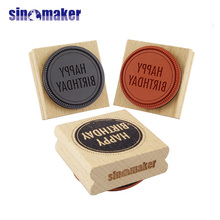 custom print wood craft card making beech wood sealing wax stamp for promotion